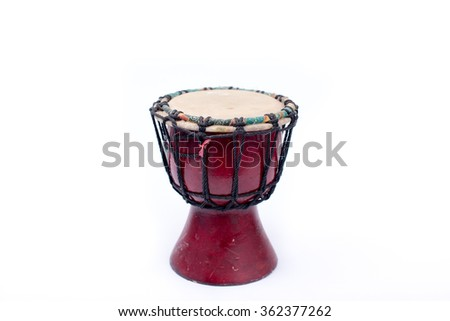Wooden Thai Southern style small drum isolated  on white.  - stock photo