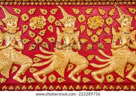 Wooden Thai style carving art at the temple, Thailand - stock photo