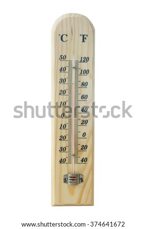 Wooden thermometer scale isolated on white background