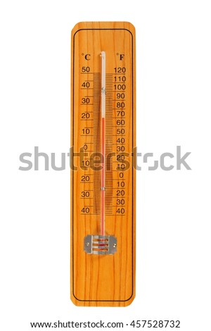 Wooden thermometer with Celsius and Fahrenheit scales - stock photo