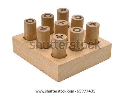 Wooden Tic Tac Toe game - stock photo