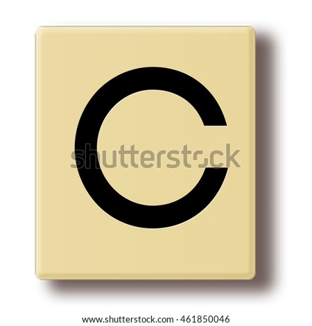 "Wooden tile with the letter ""C"""