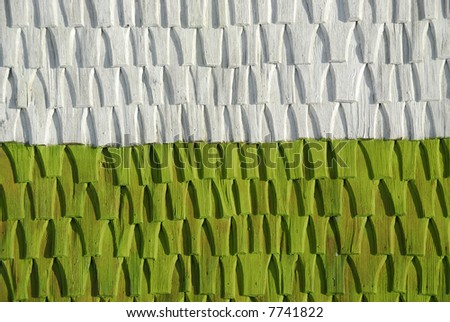 Wooden tiles detail on rustic house - stock photo