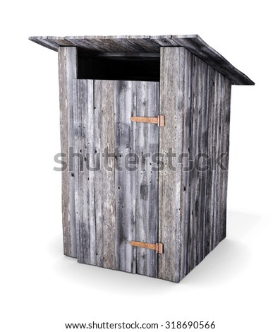 Wooden toilet isolated on white background. 3d render image. - stock photo