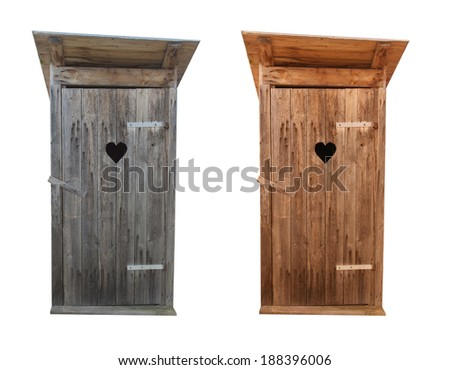 Wooden toilets isolated on white - stock photo