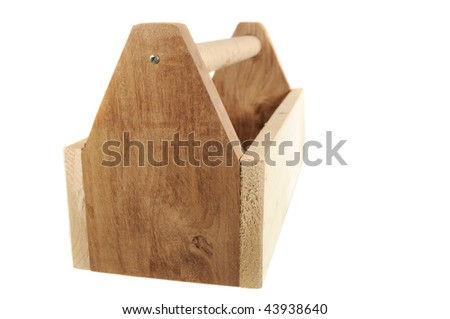 Wooden tool box isolated on a white background