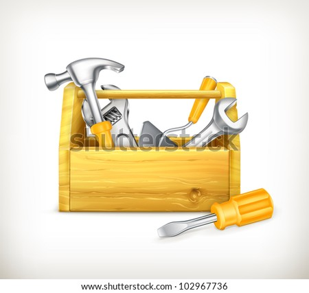 Wooden toolbox, bitmap copy - stock photo