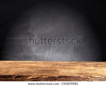 wooden top and dark space  - stock photo