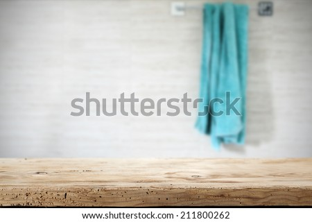 wooden top and towel  - stock photo