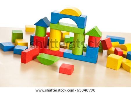wooden toy blocks - stock photo