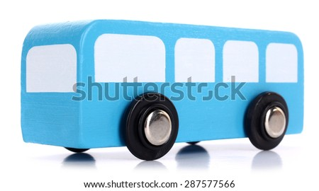 Wooden toy blue bus - stock photo
