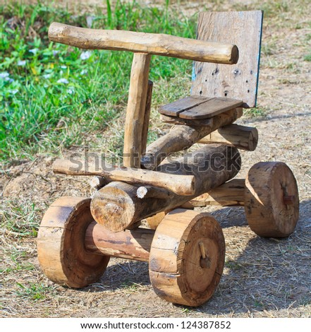 Wooden toy car - stock photo