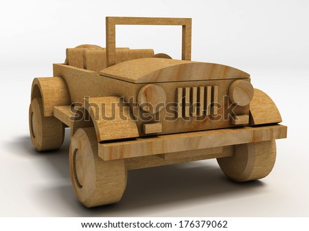 Wooden toy car. SUV.
