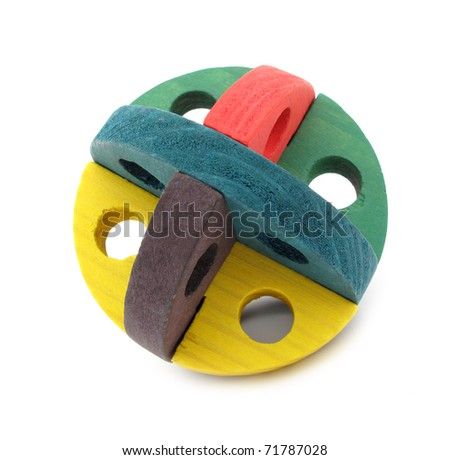 Wooden toy colorful chew ball for rodents - stock photo