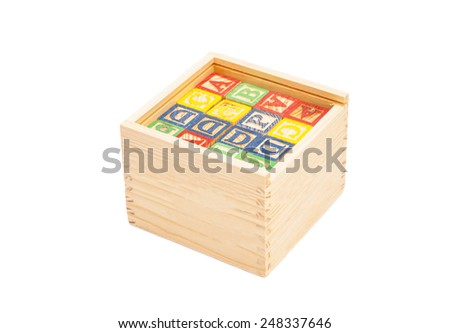 Wooden Toy Cubes With Letters On Box - stock photo