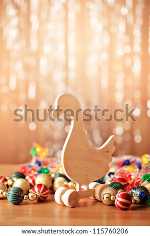 wooden toy for Christmas background - stock photo