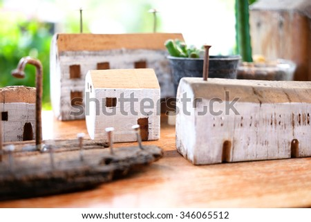 Wooden toy house - stock photo