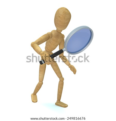 Wooden toy look with a magnifying glass - stock photo