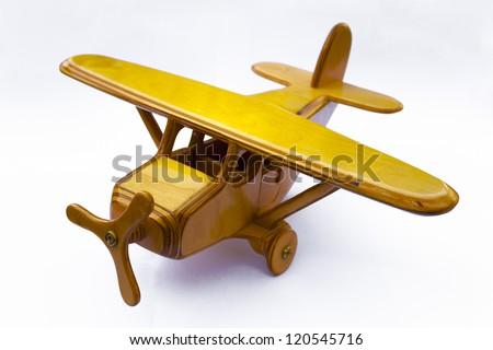 wooden toy plane - stock photo