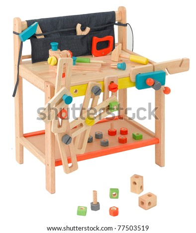 Wooden toy table workshop for children with all of craftsman tools