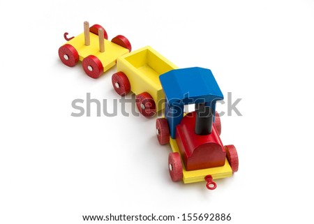 Wooden toy train for children. - stock photo
