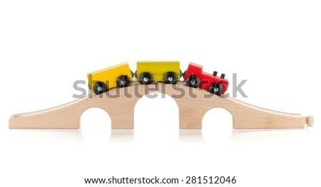 Wooden toy train. Isolated on white background - stock photo