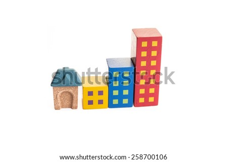 Wooden Toy train rail set with green glass and House on White Is - stock photo