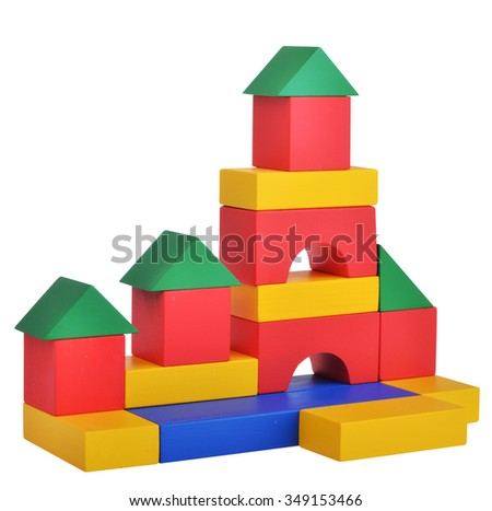 Wooden toys cube castle building game isolated on white background with clipping path
