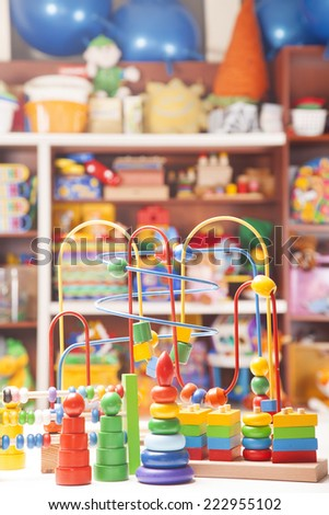 wooden toys in room for children - stock photo