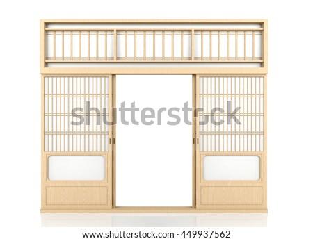 Wooden traditional Japanese Shoji door isolated on white background 3D rendering  sc 1 st  Shutterstock & Wooden Traditional Japanese Shoji Door Isolated Stock Illustration ...