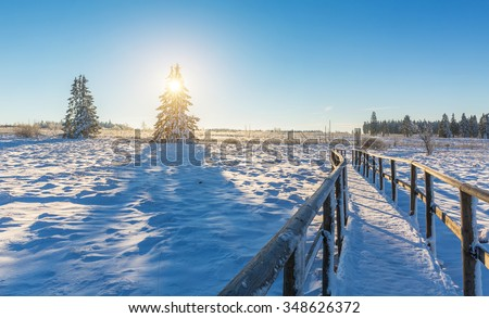 wooden trail in to a winter landscape at sunrise - stock photo