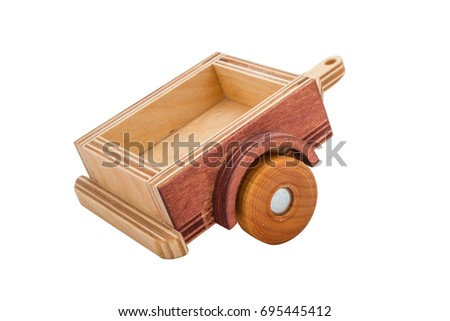 Wooden trailer on a white background