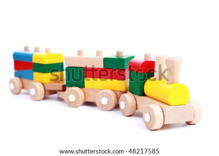 wooden train isolated on white - toys