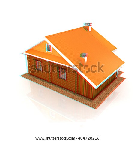 Wooden travel house or a hotel on a white background. 3D illustration. Anaglyph. View with red/cyan glasses to see in 3D. - stock photo