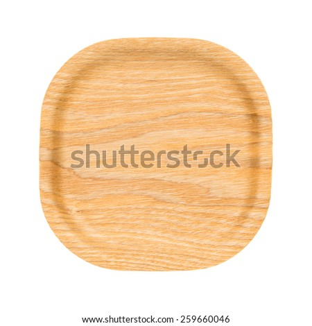 Wooden tray top view on white background