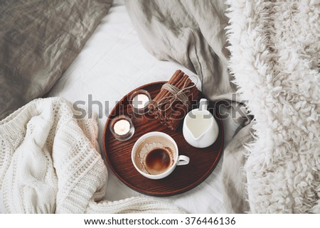 woman hand holding cup coffee bed stock photo 326700998