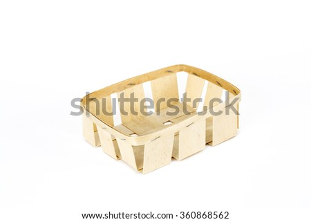 Wooden trays on white bottom