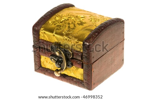 Wooden treasure chest isolated over white background