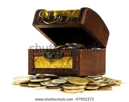 Wooden treasure  chest of money, isolated on white background - stock photo