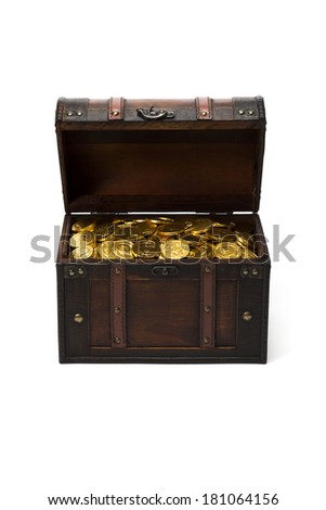 wooden treasure chest with gold coins - stock photo