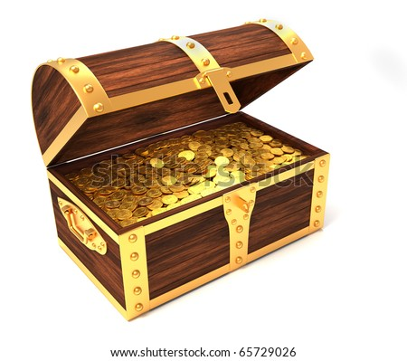 Wooden treasure chest with gold coins printed with royal crown - 3d render