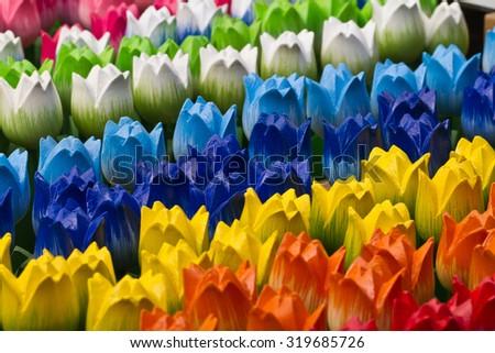 wooden tulips background  - stock photo
