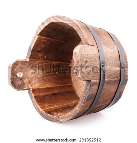 wooden vat Isolated on white background - stock photo