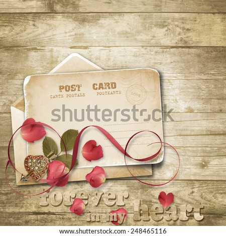 Wooden vintage background with valentines card. - stock photo