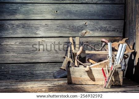 Wooden vintage carpenter drawing desk - stock photo