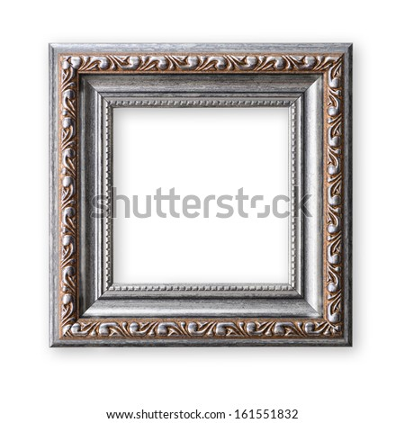 Wooden vintage frame isolated on white background - stock photo