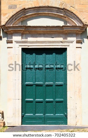 Wooden vintage green door decorated arch and pilasters. Volterra. Italy. & Pilasters Stock Images Royalty-Free Images \u0026 Vectors | Shutterstock Pezcame.Com