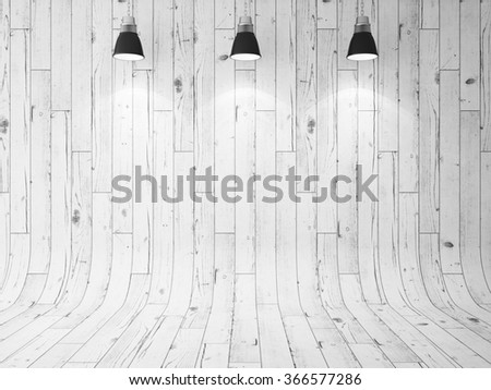 wooden wall and three ceiling lamps. 3d render - stock photo