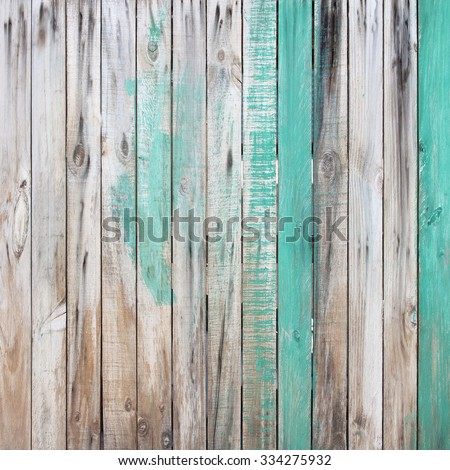 Wooden wall background or texture, The old walls are painted green. - stock photo