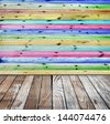 wooden wall painted in different colors - stock photo